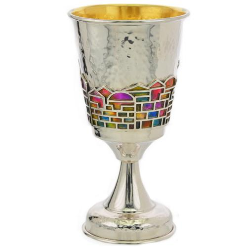 https://www.baltinesterjewelry.com/product/enamel-rainbow-jerusalem-hammered-silver-stem-kiddush-cup/